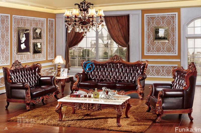 Sofa cổ điển Châu âu với phong cách hoàng gia thanh lịch