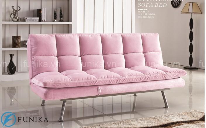 Mẫu sofa giường thông minh màu hồng trẻ trung và tinh tế